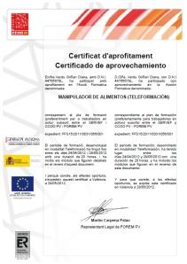 Certificado de aprovechamiento Manipulador de alimentos