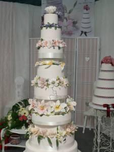 tarta boda con flores